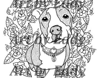 Zentangle pitbull  Etsy