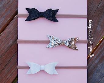 Baby Glitter Bow Headbands; Set of 3 bows; Faux Leather bows; Nylon Black White and Gold bows; Glitter bow; Nylon Headband