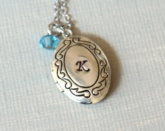 Personalized Initial Locket Necklace. silver oval locket with initial and birthstone charm, birthday gift