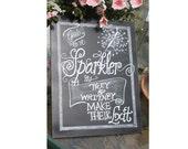 Chalkboard Art Sign Poster - Sparkler Chalkboard - wedding Sign paper poster
