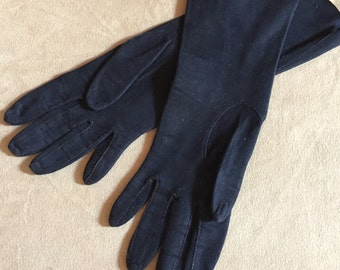 Vintage Black Gloves, Soft Suede, Mid Length, Size XS to Small  50's 60's, Classic Style