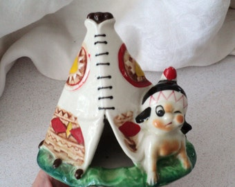 Vintage Indian Brave and Teepee Ashtray 1960s