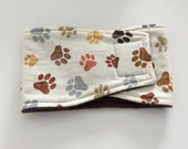 Male Dog Diaper - Belly Band - Belly Wrap - Beige with Paw Prints - Available in all Sizes