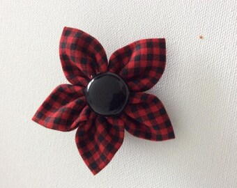 Red and Black Plaid Dog Collar Flower- Ready to Ship