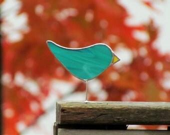 Teal Green Stained Glass Bird Suncatcher Handmade Glass Ornament Fun Gift Idea for Anyone