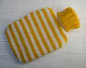 Hot Water Bottle Cover knitted in yellow and cream stripes