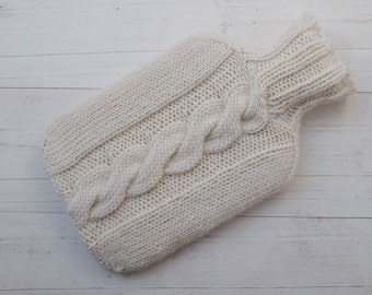 Hot water bottle Cover Cream Knitted Aran Cable wool and alpaca