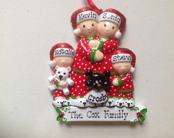 Personalized Christmas Pajamas Family of Four with Pet Dog or cat Ornament New Parents, Grandkids, Co-workers, Friends