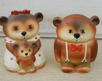 The Three Bears Salt and Pepper Shakers - Made in Japan
