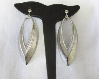 Vintage 1970's Silver Tone Long Drop Earrings