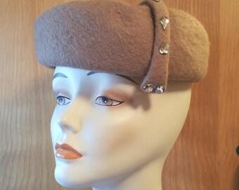 ROLLED PILL BOX Hat, Tan Wool Felt, Asymmetrical, Rhinestone Embellishment, 1950's, Vintage Ladies Millinery, Accessory