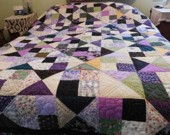 Handmade Queen size Colorful Purple Quilt, handcrafted, custom made, unique, American, Lilac Flowers, matching pillowcases, yellow, green