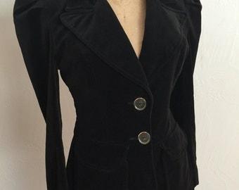 Mod 1970's Black Velvet Wide Collar Extended Shoulder Vintage Blazer S Large Lucite Buttons