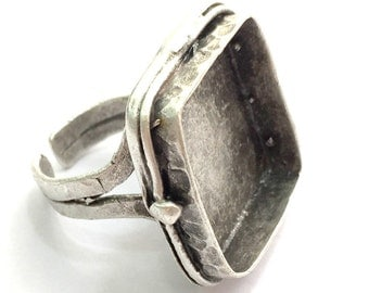 Adjustable Ring Blank, (20mm blank ) Antique Silver Plated Brass G5846
