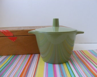 Vintage Melmac Avocado Green Lidded Sugar Bowl Dorchester Dinnerware