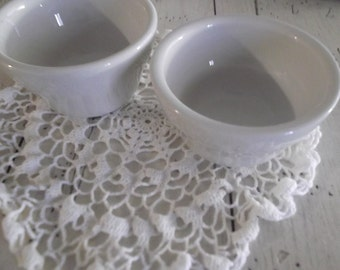 Ironstone Custard Cups Vintage Restaurant Ware Buffalo China Ramekin Delco China Small Bowls