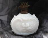 Rare Miniature Victorian Milk Glass Kerosene Oil Lamp Cupid Cherubs