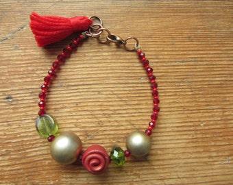 Red Tassel Bracelet, Recycled Bracelet, Boho Stacking Bracelet, Beaded Tassel Bracelet, Layering Bracelet, Tassel Jewelry, Upcycled Jewelry