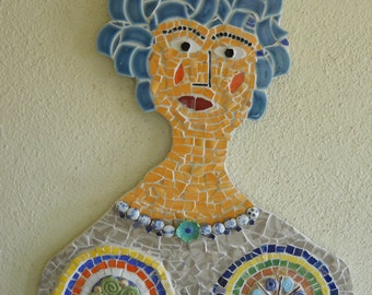 Mosaic handmade wall hanging: Portrait of a Lady with Blue Hair.