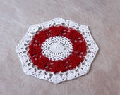 Valentine Day Decor Lace Hearts Doily, Crochet, Romantic, Cottage Chic, Red, White, New