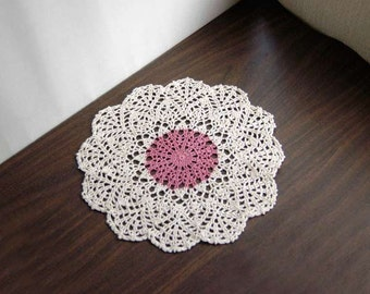 Dusty Rose Decor Crochet Lace Doily, Country Cottage Table Accessory, Modern Home Decor, New