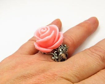 Steampunk Pink Sparrow Rose Ring- Adjustable Ring
