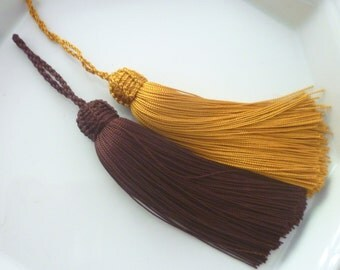 Gold and chocolate  Moroccan tassels, art silk, set of 2