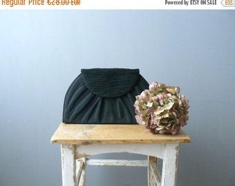 40% OFF SALE // Vintage black clutch. 80s purse. black fabric bag