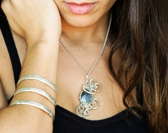 Made to Order Sterling Silver Bracelet, Silver Statement Cuff, Boho Bracelet, Spiral Cuff Bracelet, Sterling Silver Bracelet, Hammered Cuff