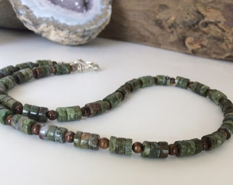 Men's Necklace Unisex Necklace  Green Chrysocolla Heishi Pietersite Necklace Rustic Boho Handmade Father's Day