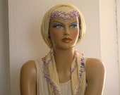 vintage turkish scarf, cream lilac beaded trim cotton