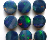 Opal Cabochon 6mm Round Dark Blue Rainbow Green Australian ONE Cab Perfect Stacking Rings Ring Jewelry PinFire White Teal Sparkle Earrings
