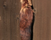 Recycled Brown Dyed Fox Fur Tail for Keychain or Belt Loops