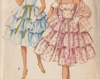 Vintage 1959 Junior Misses' Party Dress And Stole Pattern, Camisole Top, Three Ruffle Skirt, McCall's 5293
