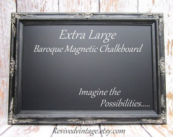 "MAGNETIC CHALKBOARDS For Sale Restaurant Chalkboards Silver & Black Framed Baroque Chalkboard 44""x32"" Black Tie Wedding Old World Style"