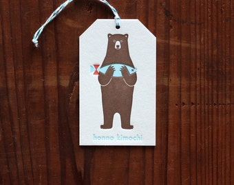 Letterpress Gift Tag  - Bear