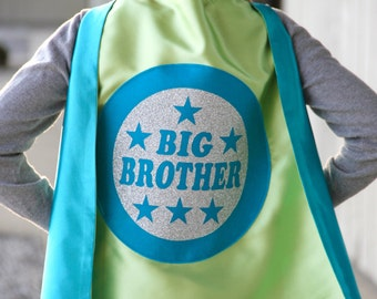 Big Brother Superhero Cape - Easter Ready - 5 combinations - NEW - SHIPS FAST - Sibling gift - big brother gift - new baby - Easter Ready