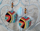 African earrings, round drop dangle ,exotic, African gift , wooden beads, tribal ethnic earrings, hand made and painted, decorated earrings