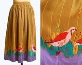 Vintage 70s High Waist SILK SKIRT / 1970s Bird Print Hippie Skirt xs