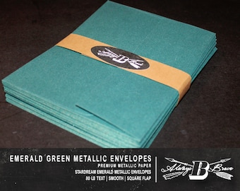 25 Emerald Metallic A6 Envelopes | Invitation Envelope | 4.75 x 6.5 fits 4 x 6 Card | Green Envelope | STARDREAM Emerald Envelope