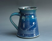 Pottery coffee mug, ceramic mug, stoneware tea cup navy blue 16 oz 3538