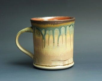 Handmade pottery coffee mug tea cup 12 oz, cream and rust tea cup 3333