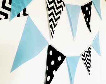 Garland Bunting Banner Pennant Fabric Flags, Chevron, Polka Dots Solid Light Blue, Black, Baby Boy Nursery Decor, Photo Prop, Birthday Party