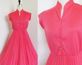 """50% OFF SALE Vintage 1970's Pink Day Dress / Bright & Light Summer Pleated Skirt 60's 70's Sundress Size Small / """"Valentines Sweetheart"""""""