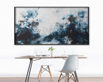 Abstract seascape Painting- blue grey white black painting minimalist modern contemporary wall art -untitled sea- Elena