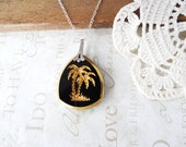 PALM spring vintage black and gold palm tree pendant necklace | beach | vacation | silver | unique | holographic | peacock | nickel free