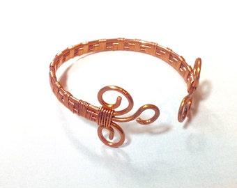 Bracelet, Copper wire  weaved bangle bracelet with copper wire, womens bracelet, bangle style
