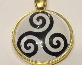 Triskelion / Triple Spiral Necklace - 25mm Glass Pendant