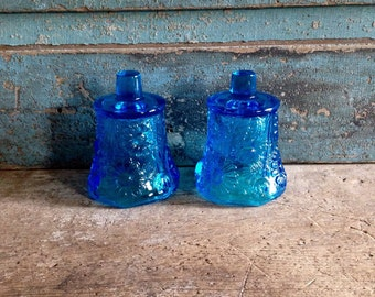 Blue Votive Candle Holder Cups Glass Wall Sconce Vintage