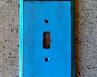 Light Switch Cover Plate Painted Turquoise Distressed Wooden